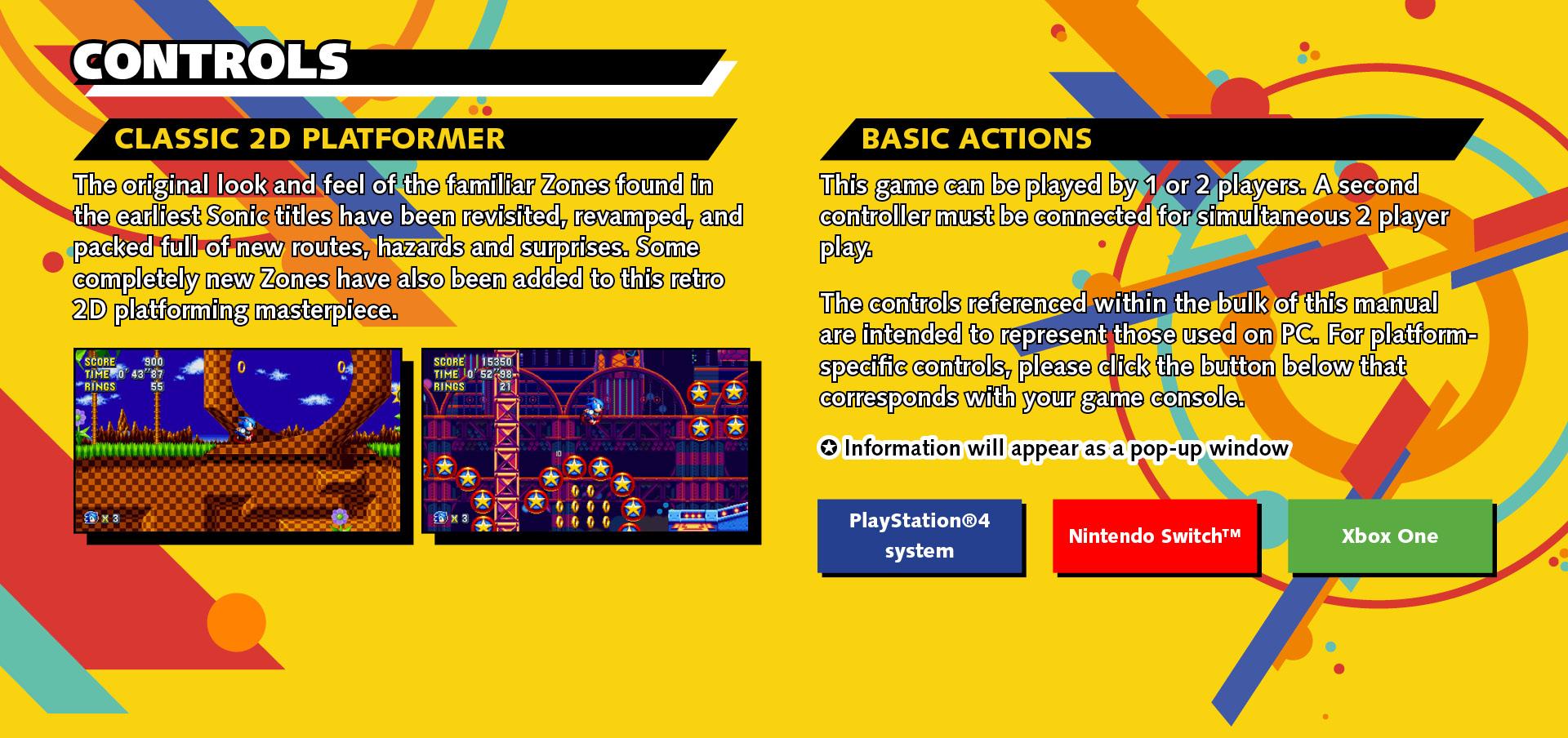 Controls|Sonic Mania Web Manual